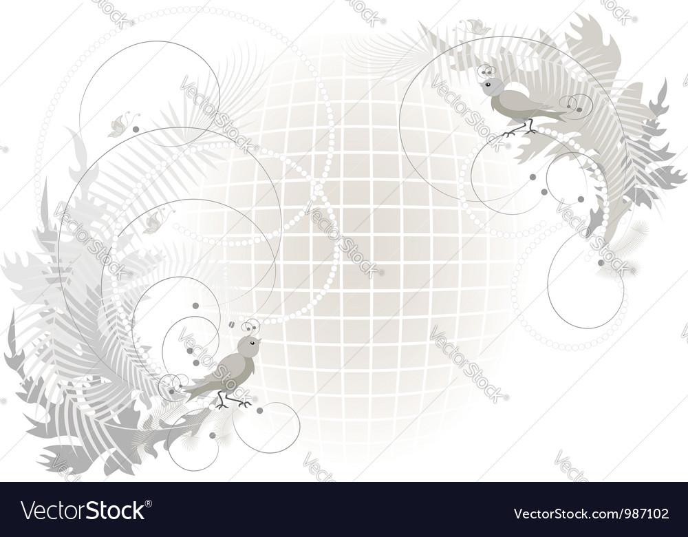 Birds and butterfly on a grid Vector Image