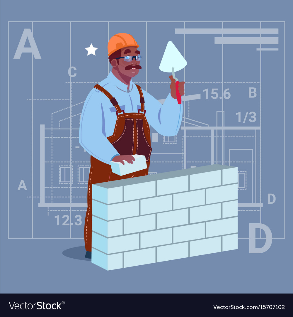 Cartoon african american builder laying brick wall vector image