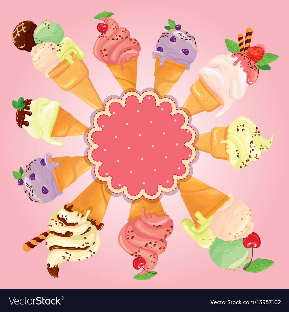 Greeting card with round frame and ice cream cones vector image