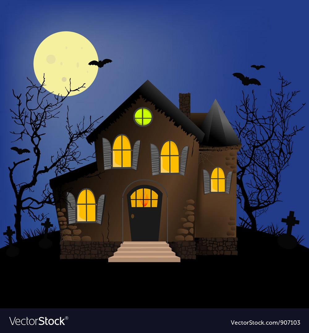 Halloween scene Royalty Free Vector Image - VectorStock