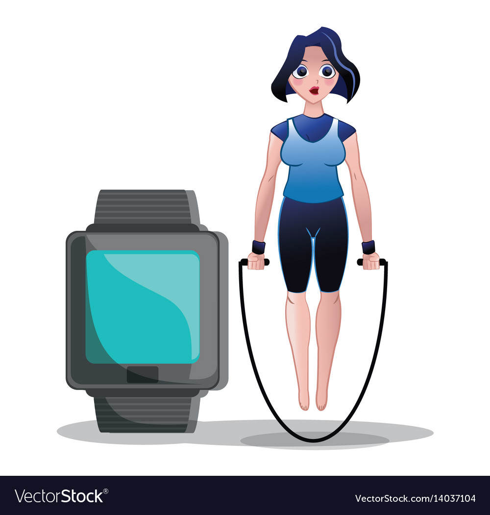 Fitness woman jump rope watch sport vector image