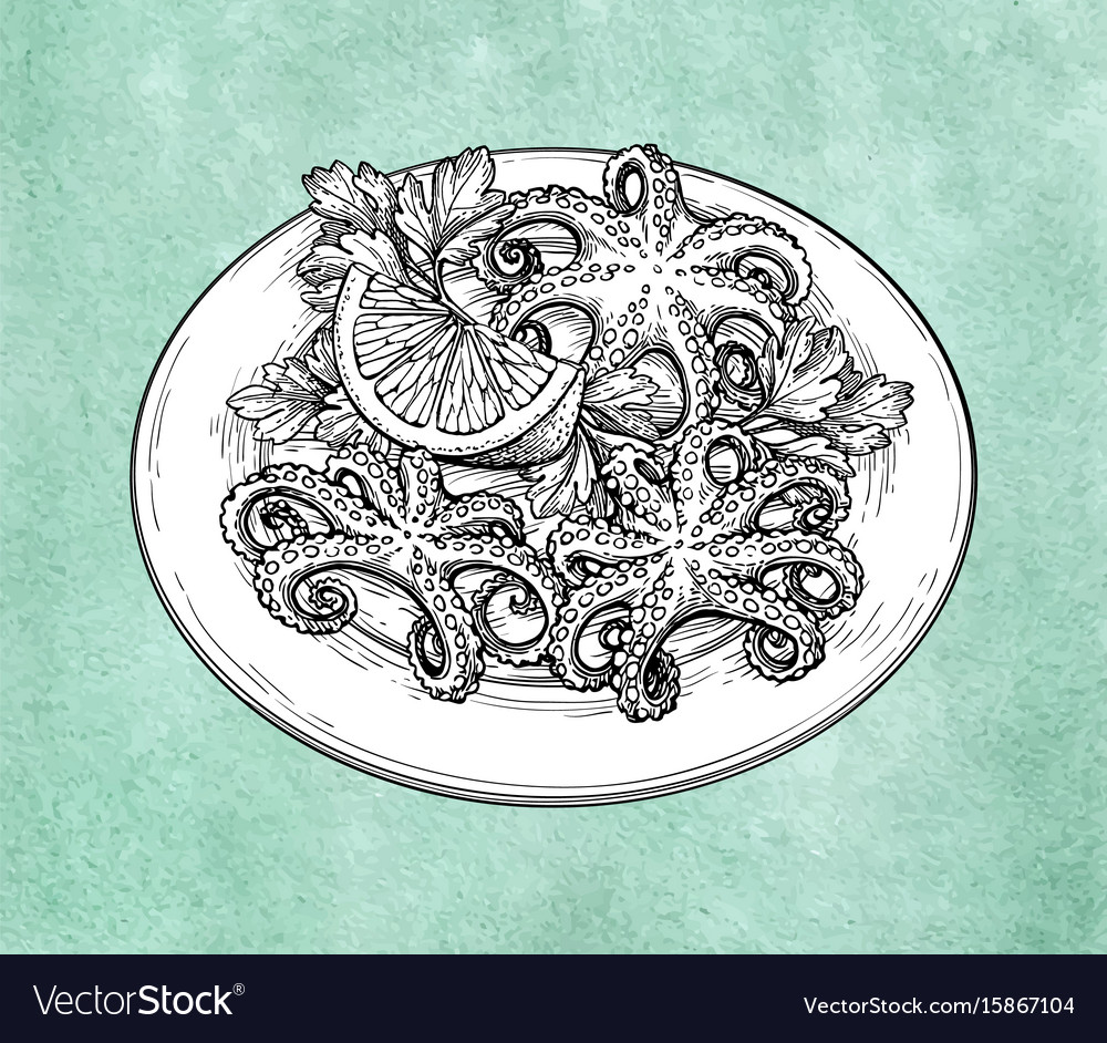 Octopuses on plate vector image
