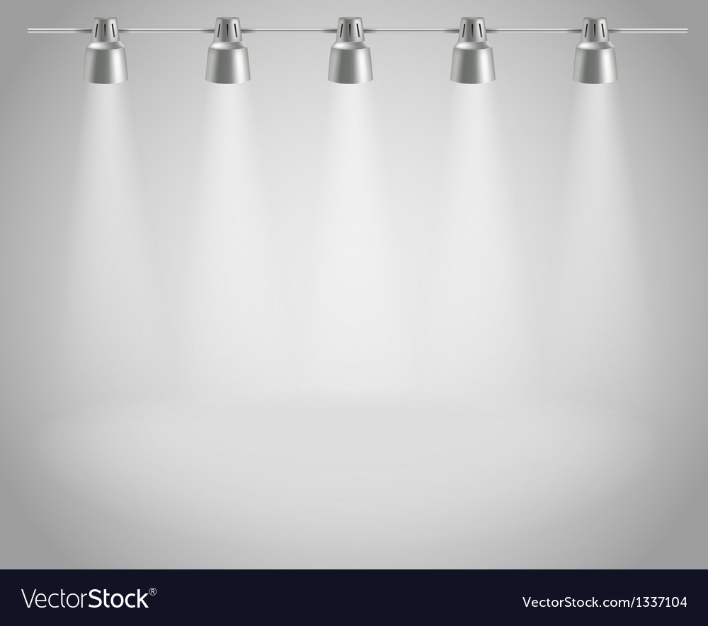 Photorealistic bright stage with projectors vector image