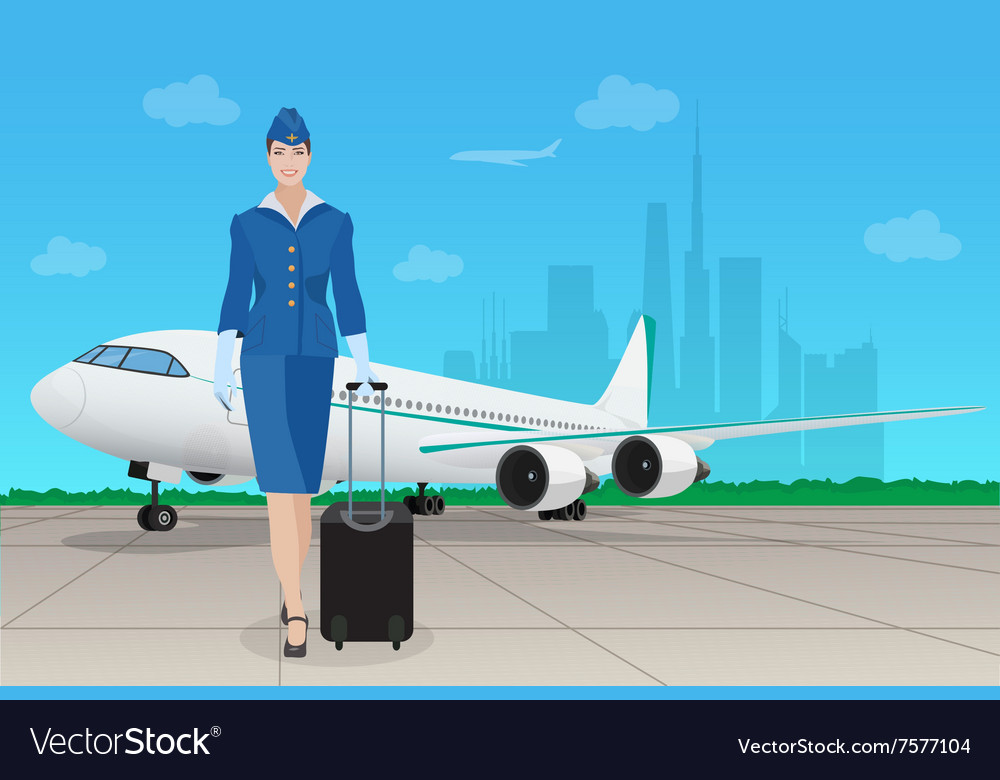 Stewardess in uniform near airplane in airport vector image