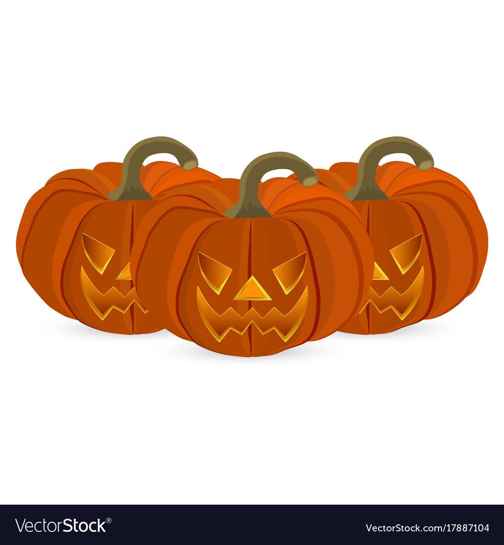 wicked pumpkin for halloween jack lantern vector image