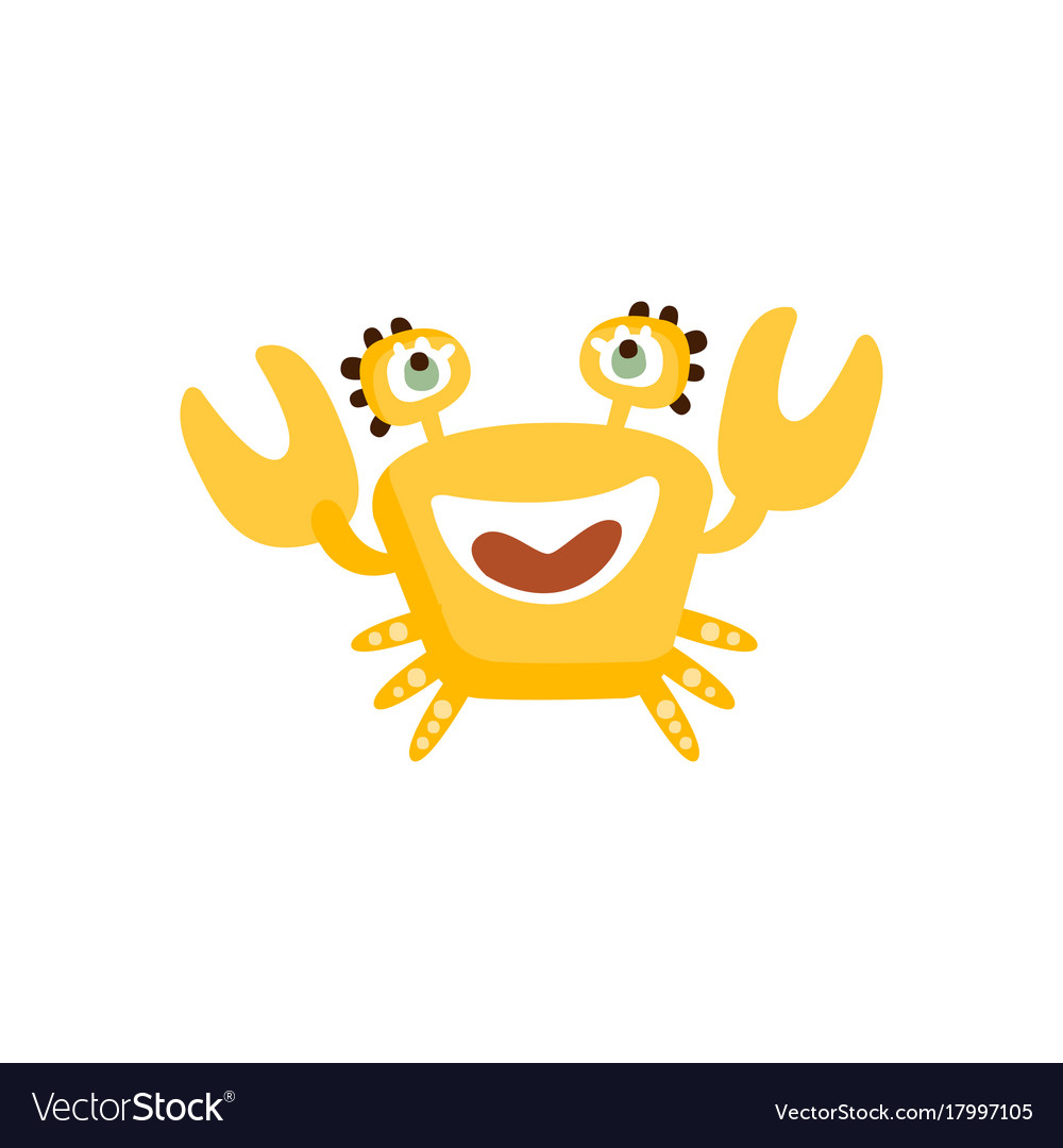 Cute yellow crab funny sea creature hand drawn vector image