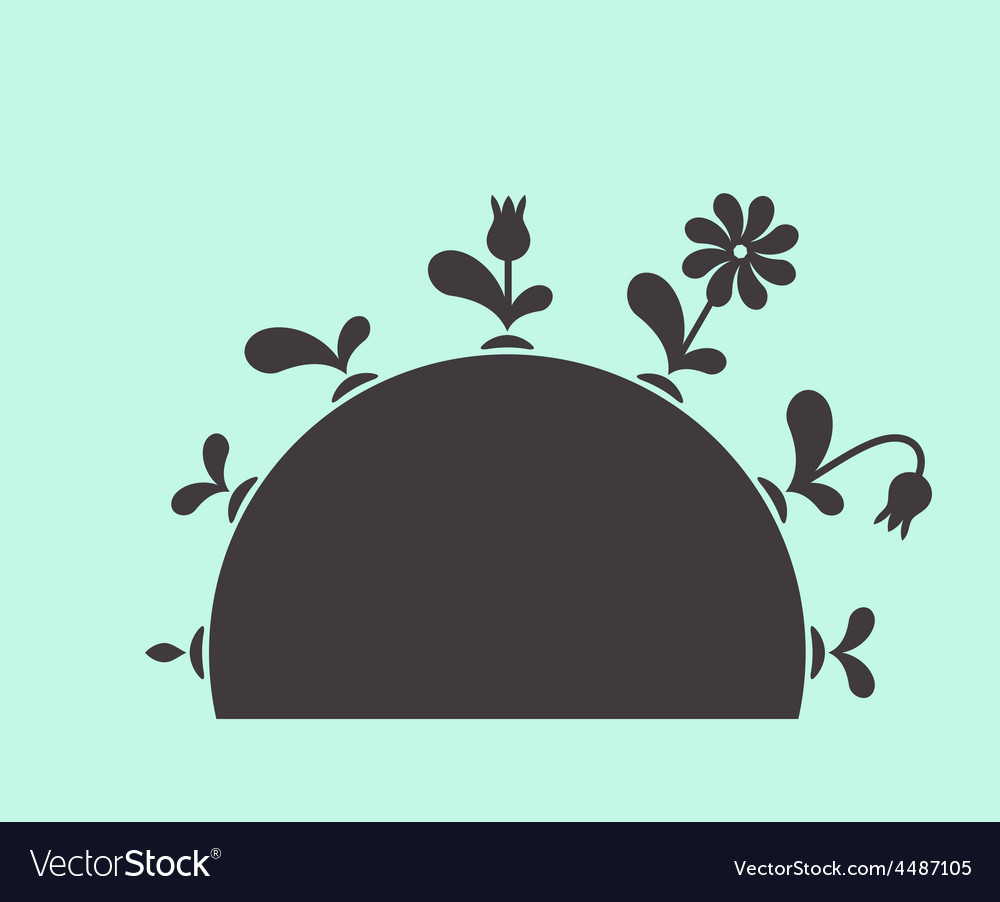 Plants growing seed foliage flowers on vector image