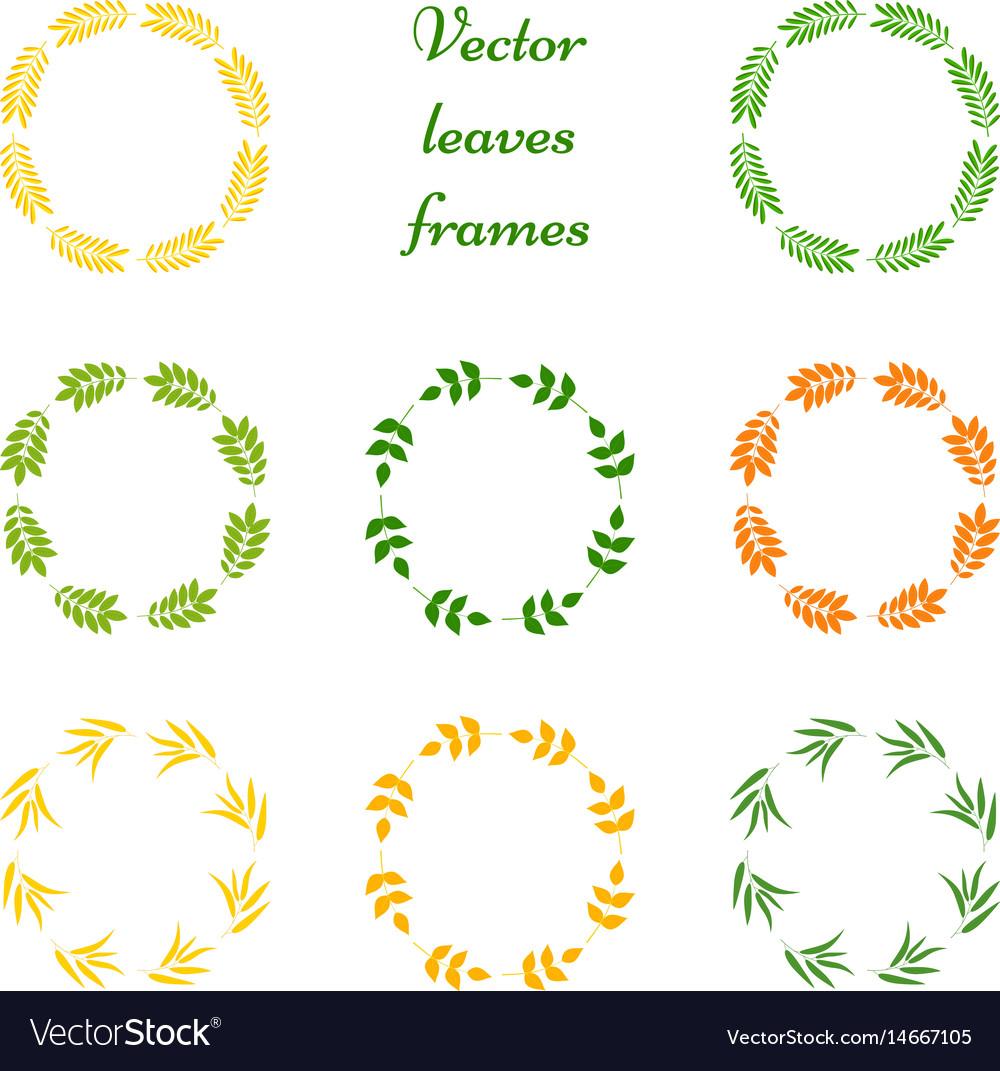 Set of leaves frames vector image