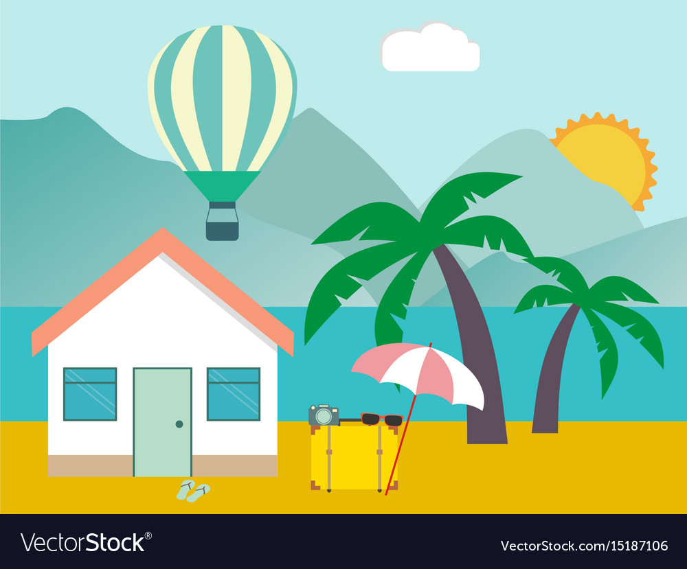 Hotel on the beach resort on the sea tropical vector image