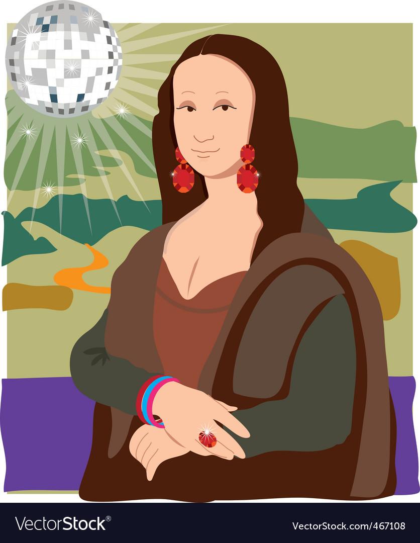 Mona Lisa disco lady vector image