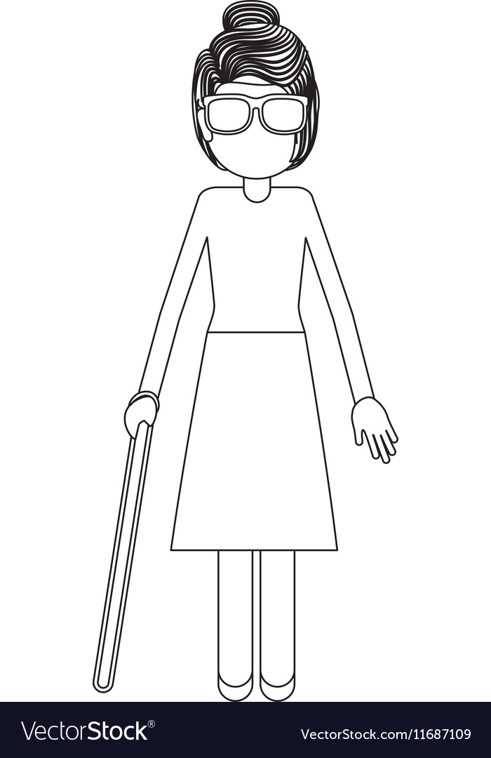 Disabled blind girl cartoon design vector image