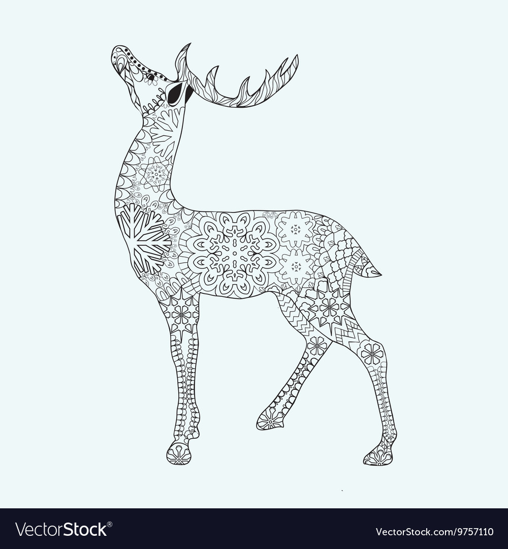 christmas deer for anti stress coloring page
