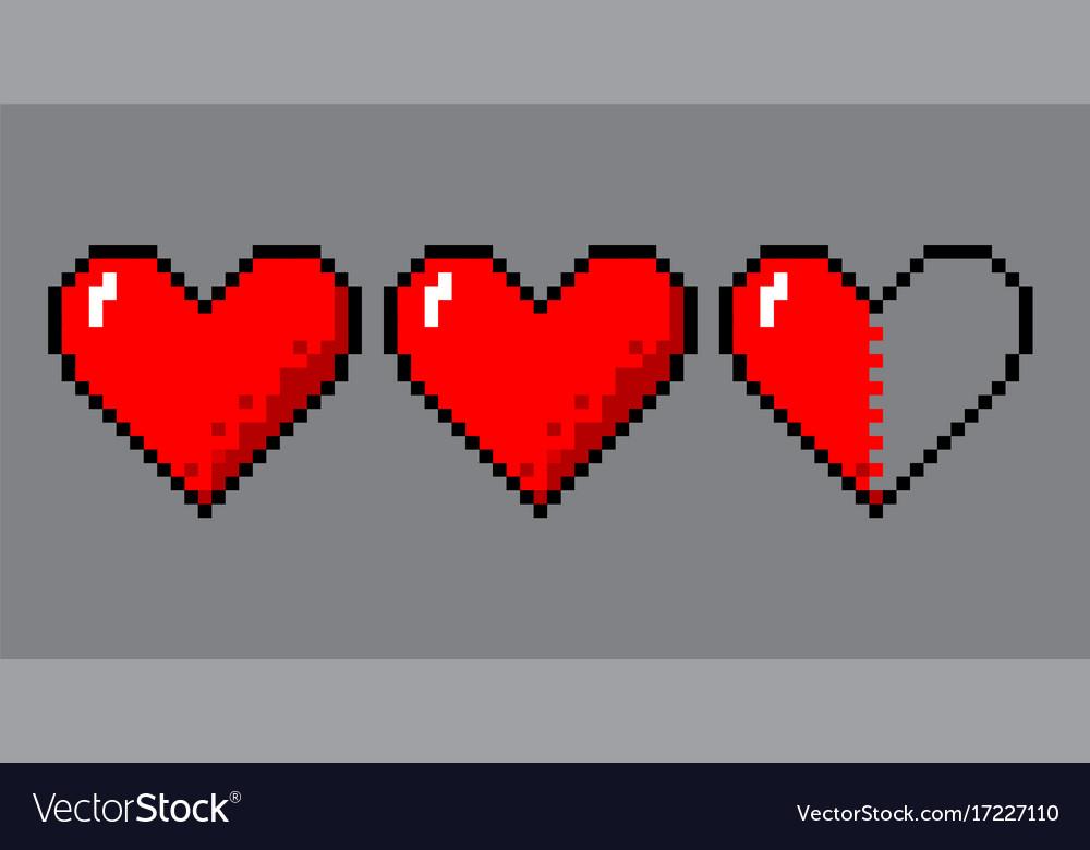Pixel Art Hearts For Game Vectorstock