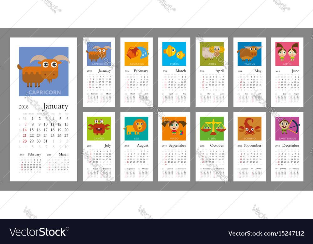 Calendar 2018 with zodiac signs vector image