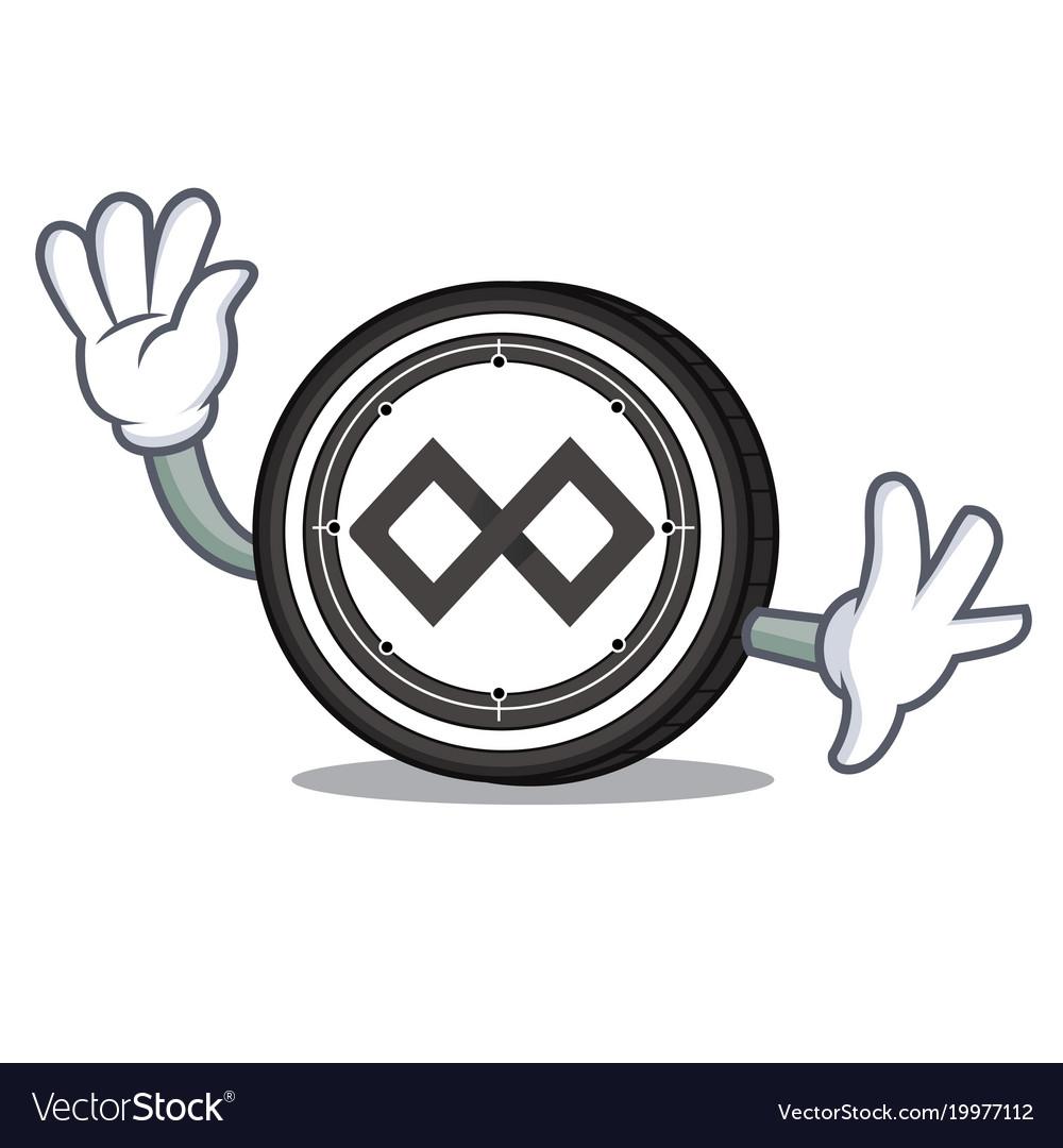 Waving tenx coin character cartoon vector image