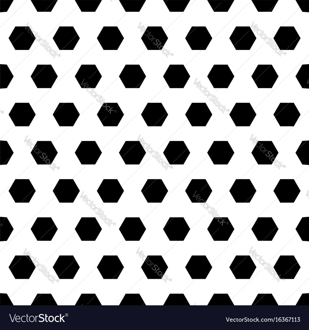 Black hexagons monochrome seamless pattern vector image