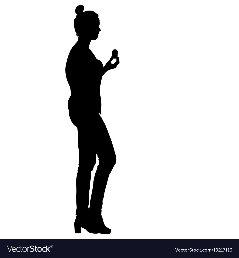Black silhouette woman holding ice cream in hand vector image