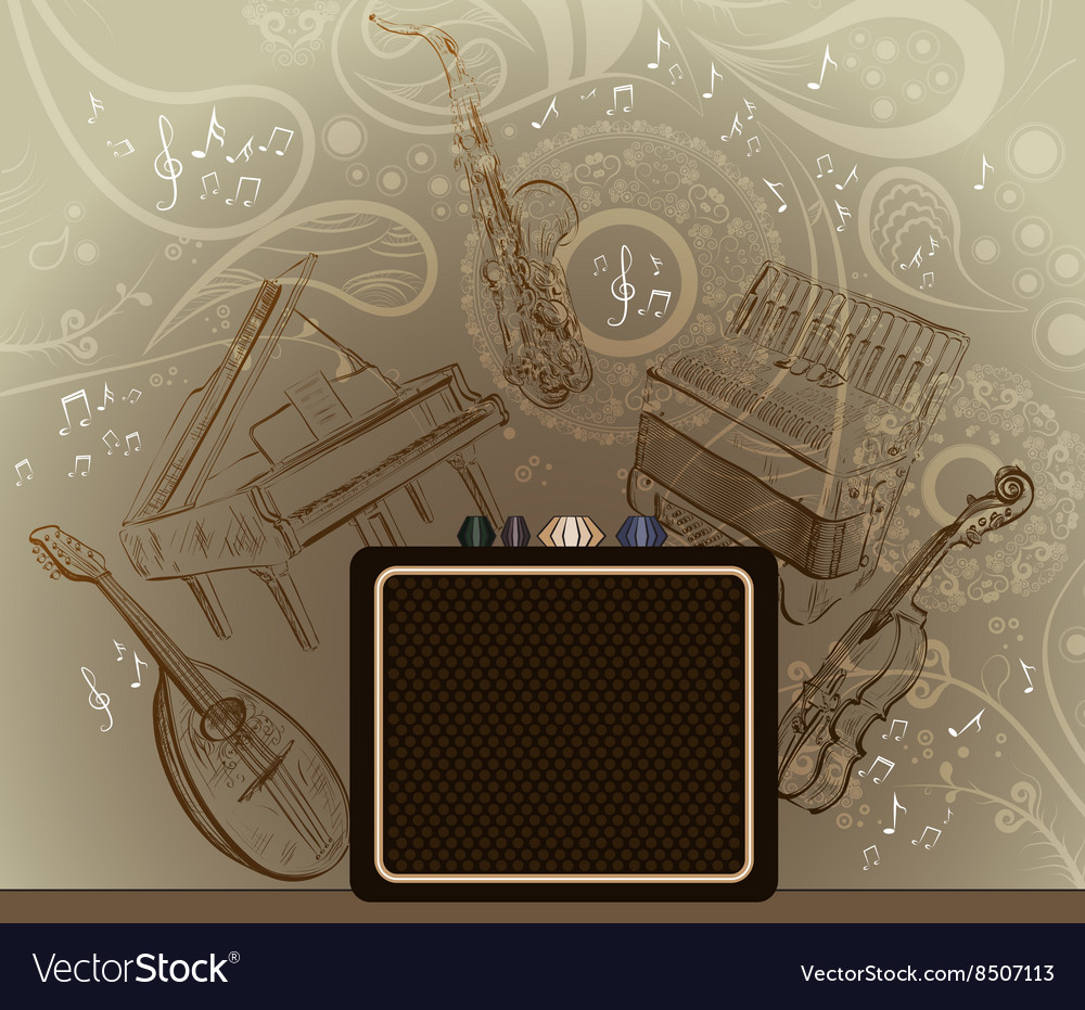 Brown Background with Musical Instruments vector image