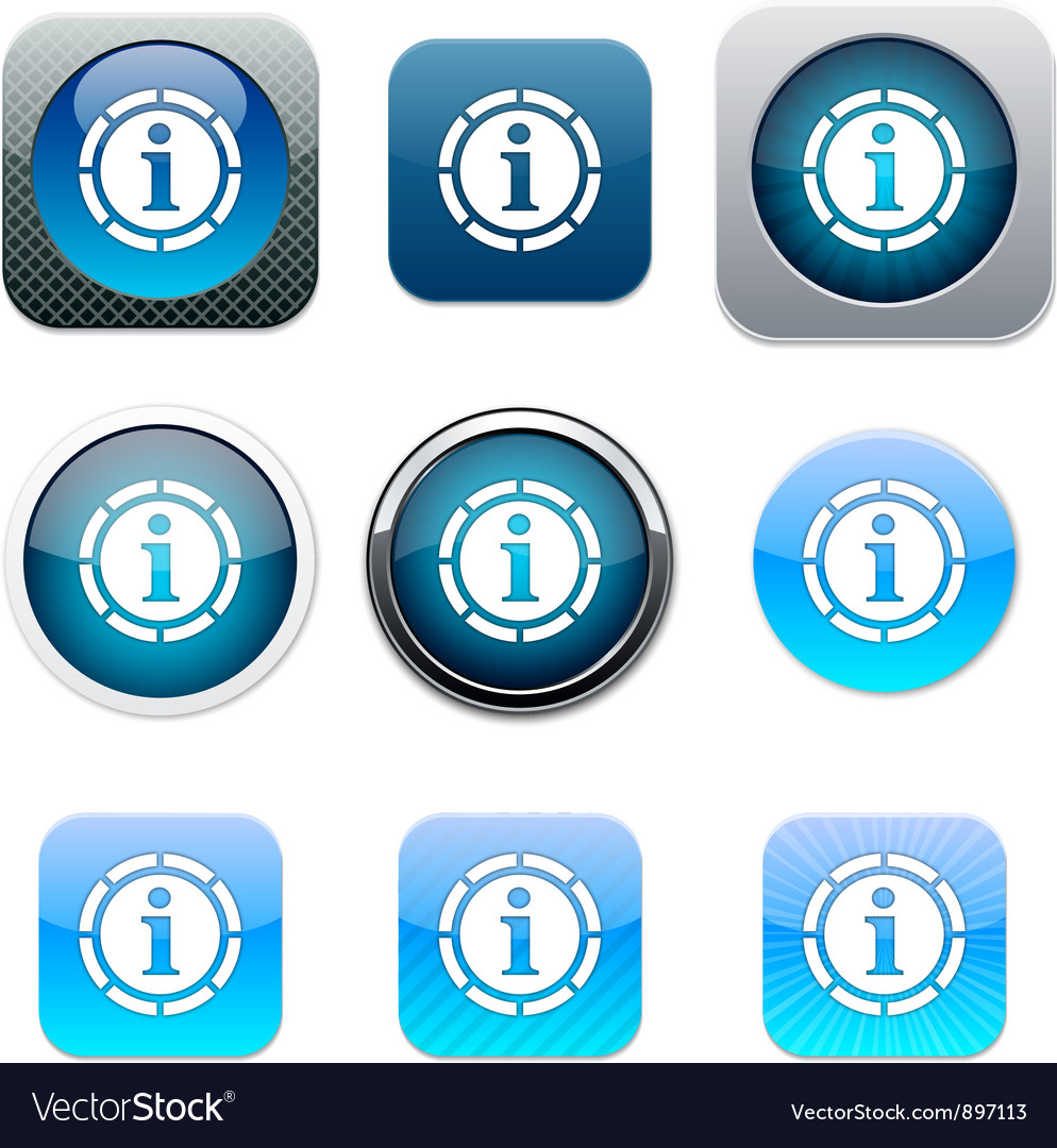 Information blue app icons vector image
