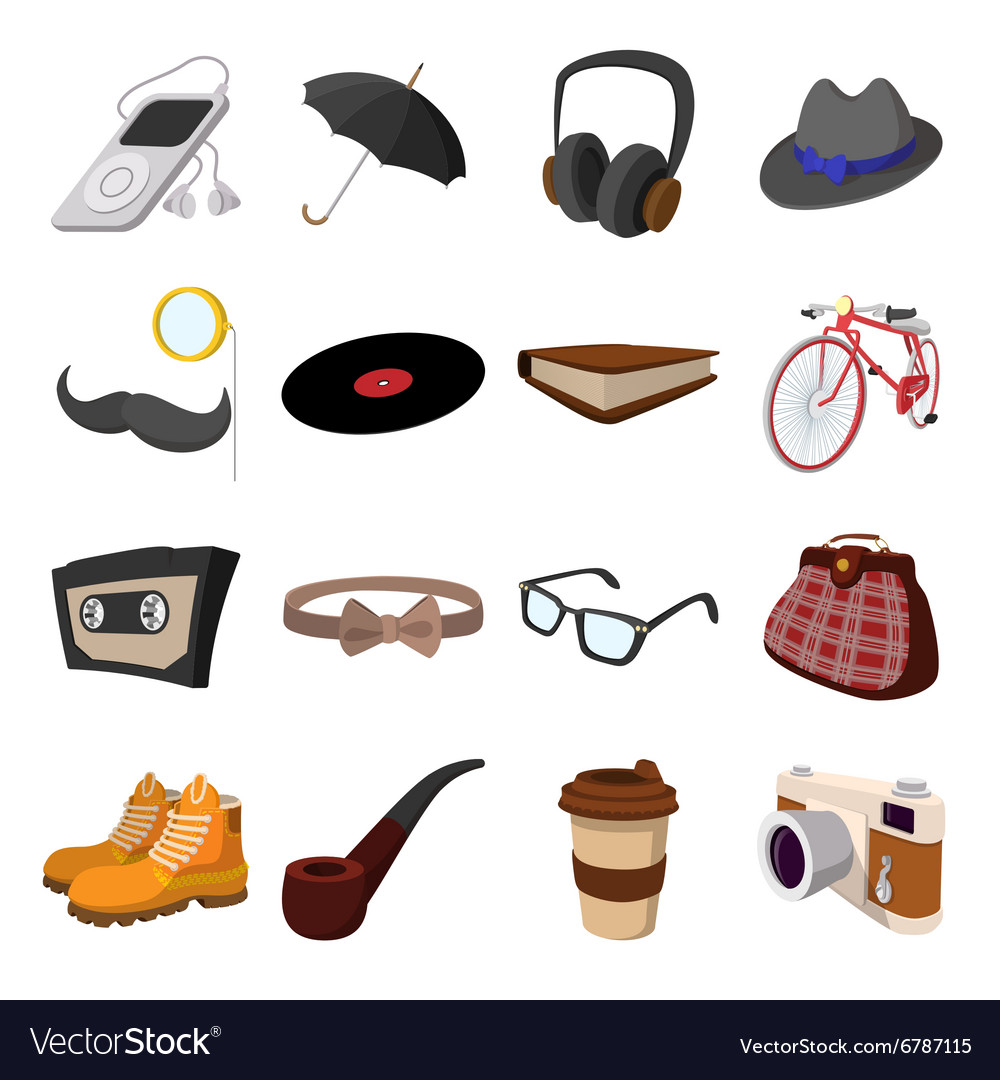16 hipster style cartoon elements vector image