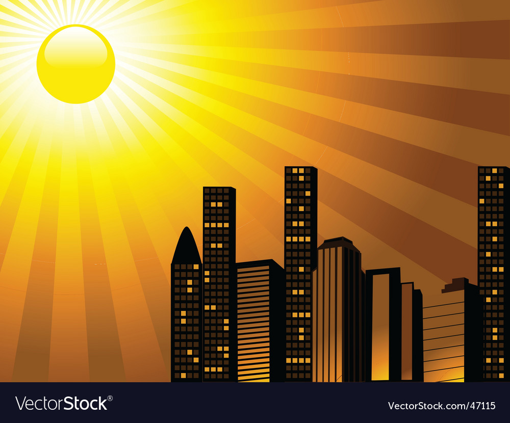 City sunset vector image