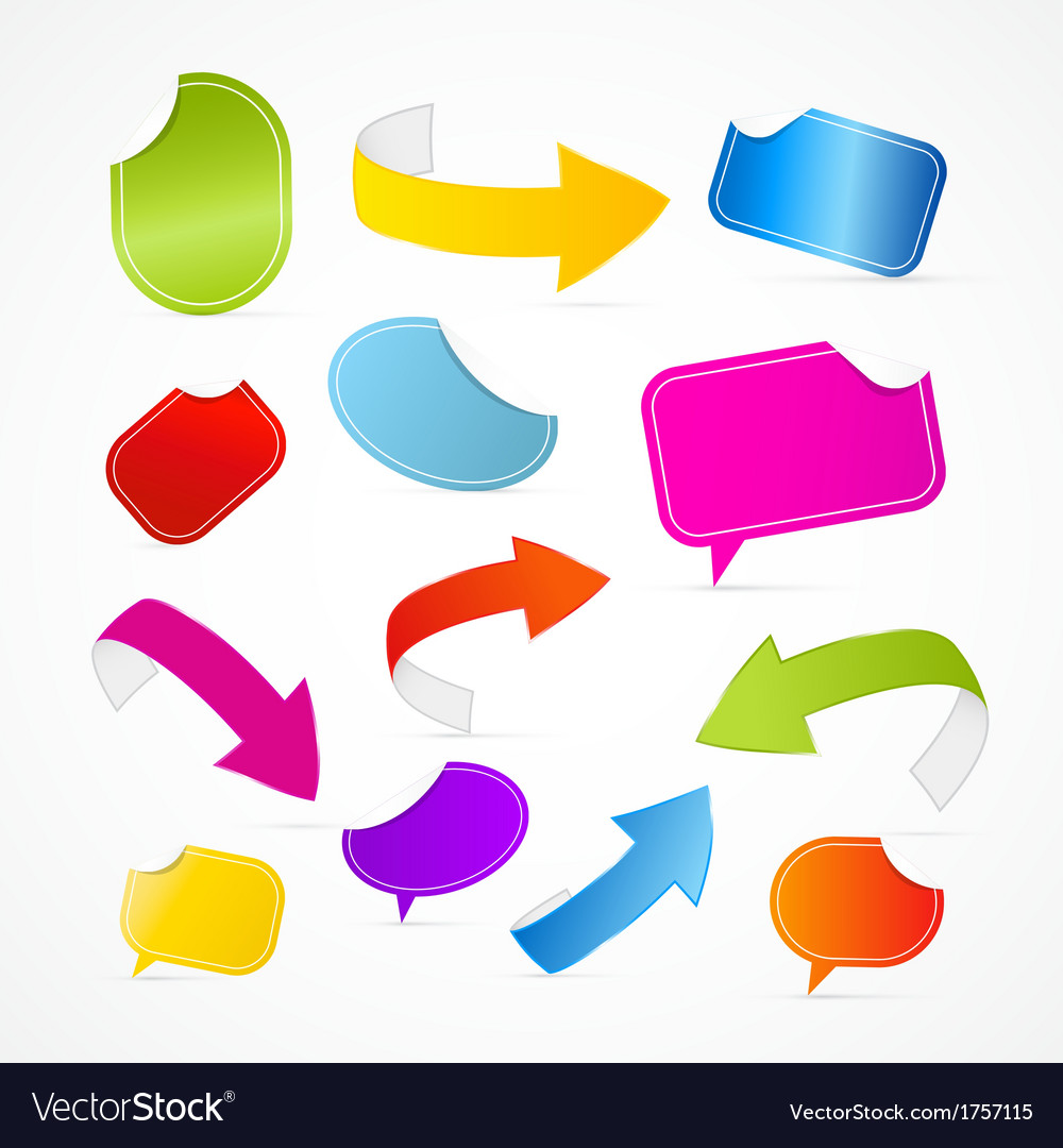Colorful Set of Arrows Labels Tags Stickers vector image