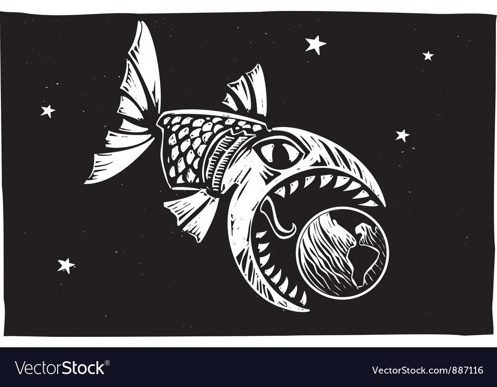 Fish Eating Earth vector image