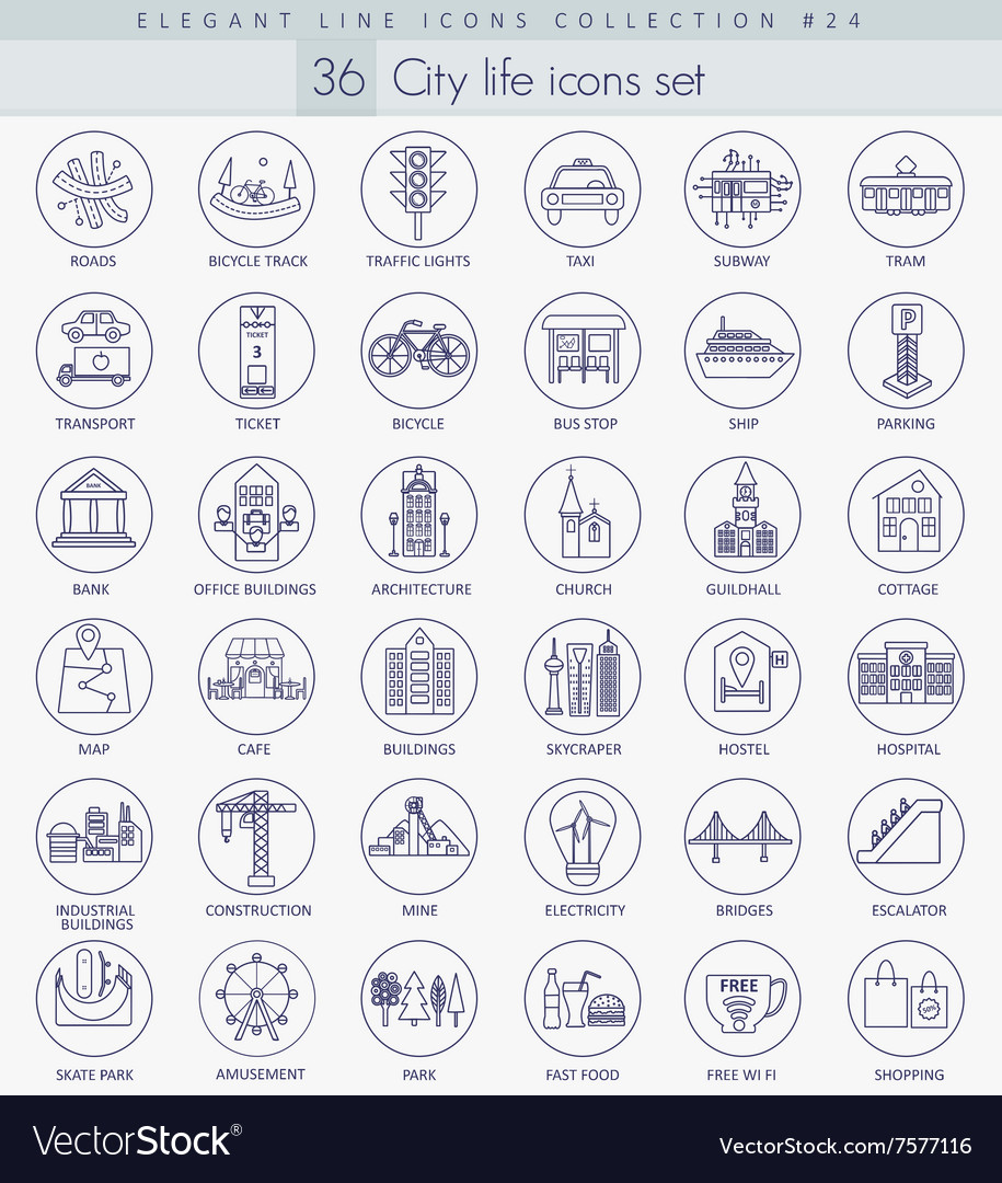 Modern city outline icon set Elegant thin vector image