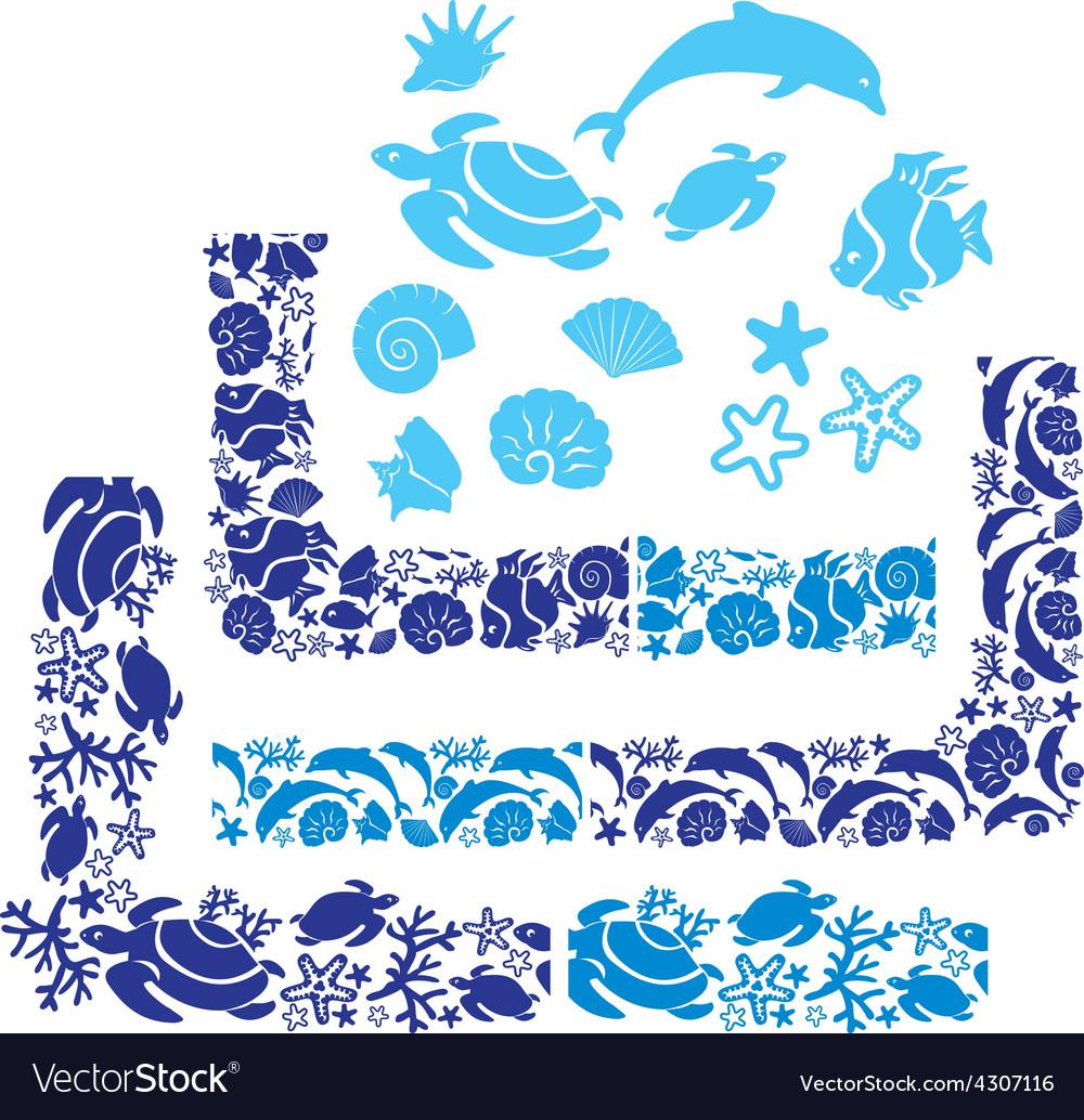 Sea life border 380 vector image