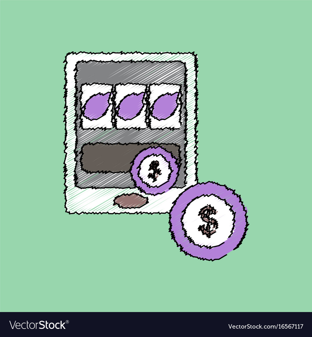 Flat shading style icon slotmachine and money