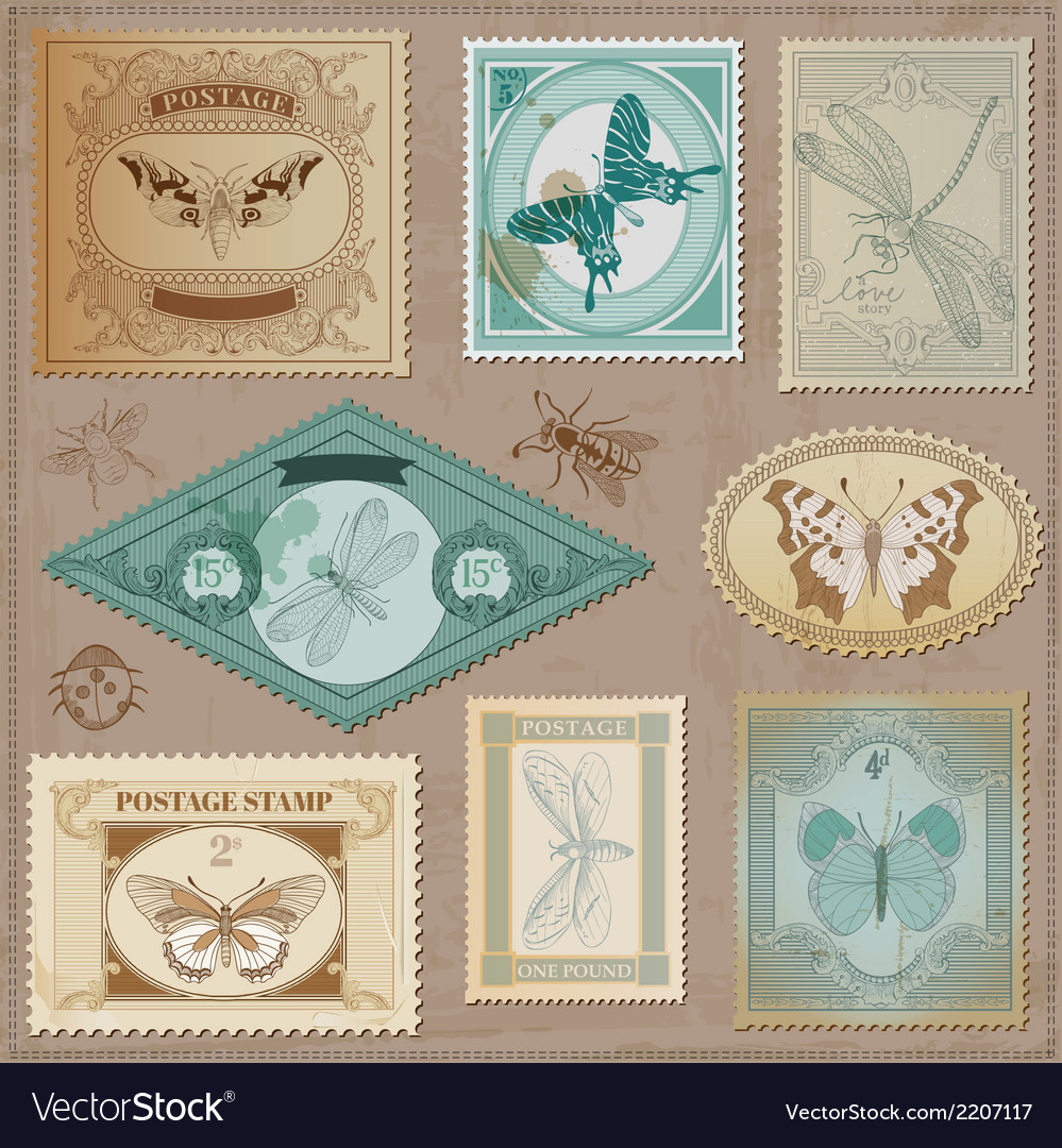Set Vintage Post Stamps vector image