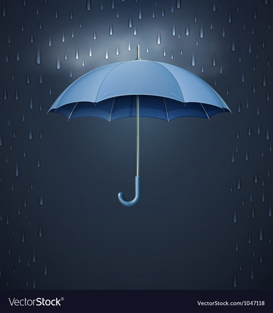 Umbrella with heavy fall rain vector image