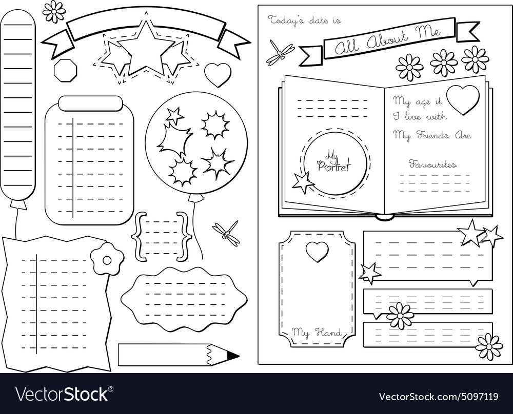 All about me School Printable vector image