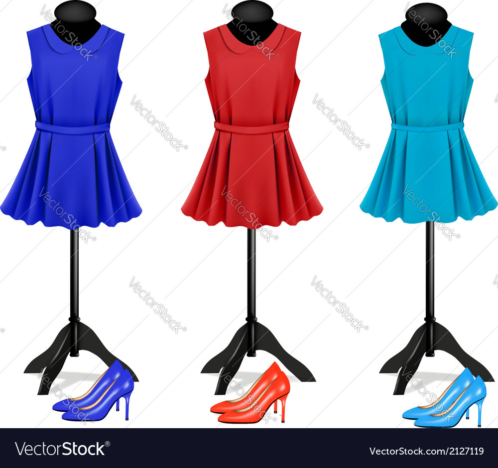 Fashion boutique background with colorful dresses vector image