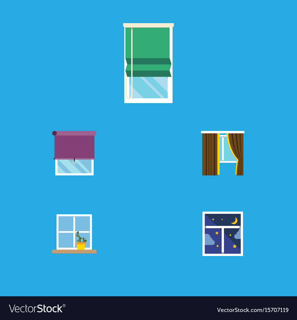 Flat icon frame set of glass glazing balcony and vector image