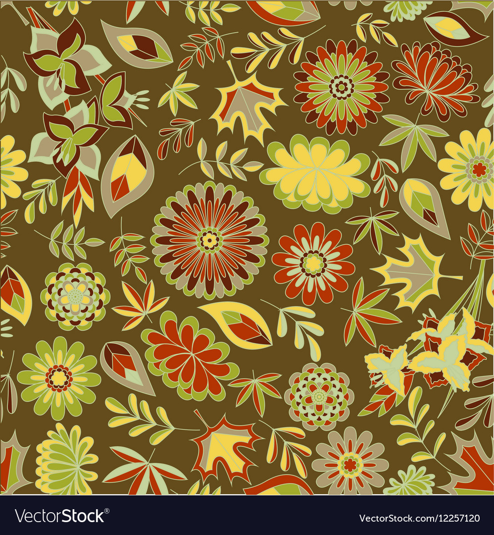 Autumn seamless pattern with flowers and leaves vector image