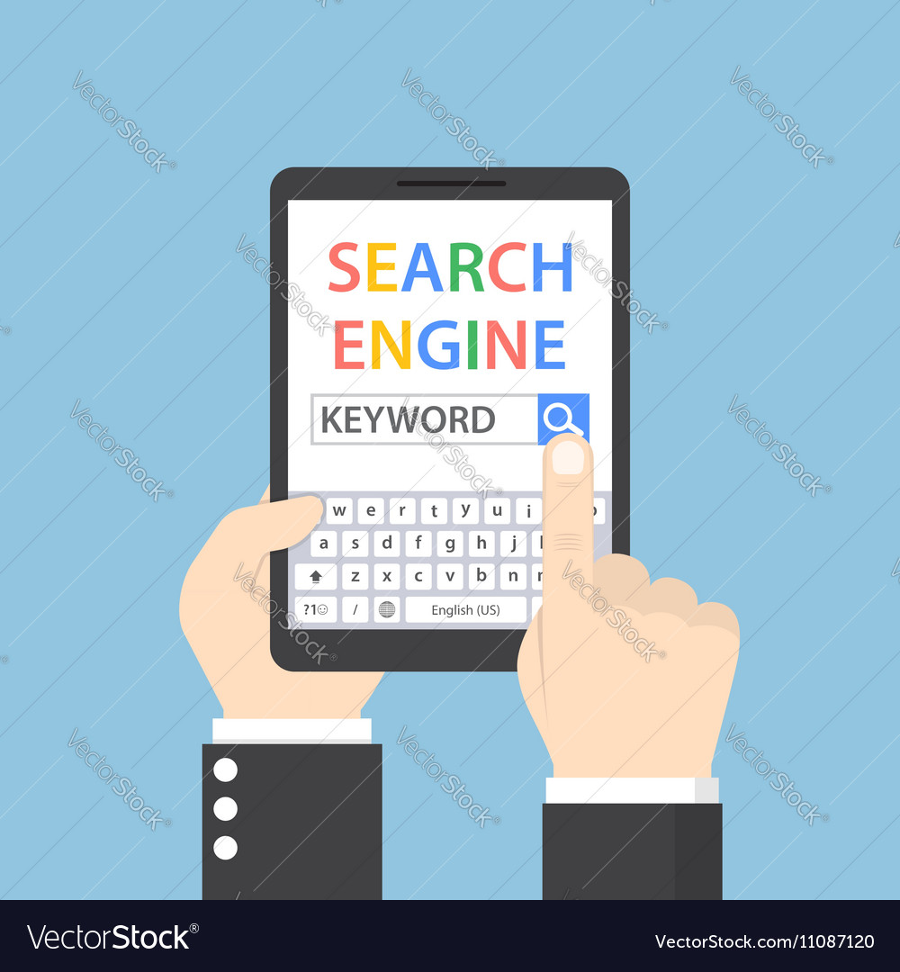 Businessman searching for keyword on search engine vector image