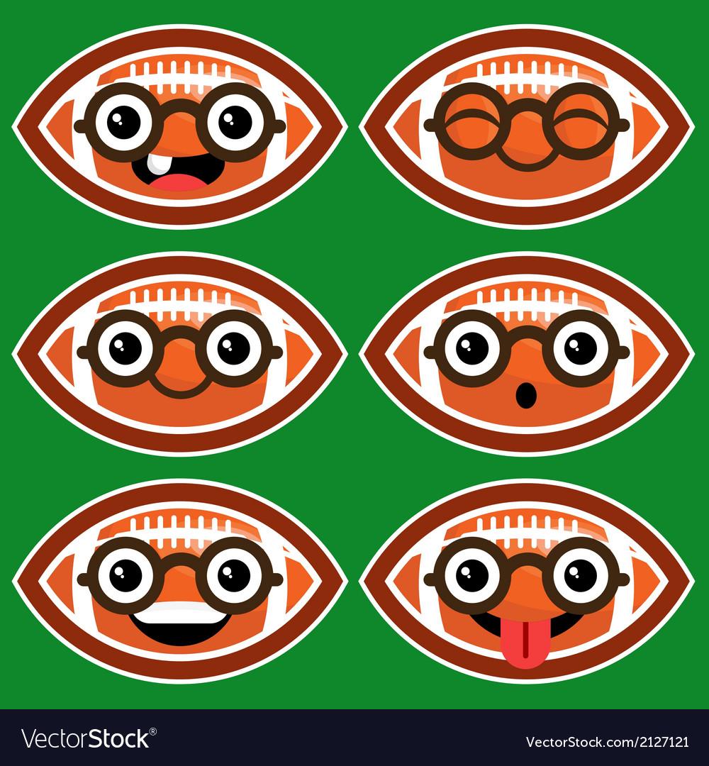 Cartoon American Footballs with Eyeglasses vector image