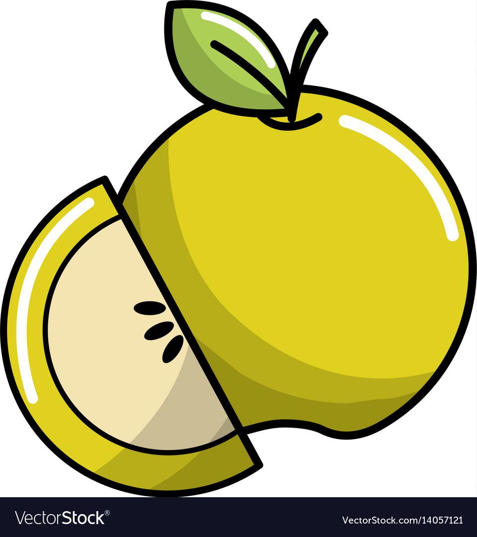 Green apple fruit icon stock vector image