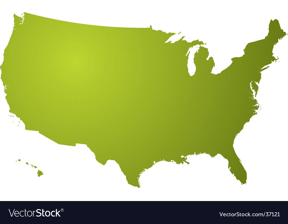 Us map green Royalty Free Vector Image VectorStock