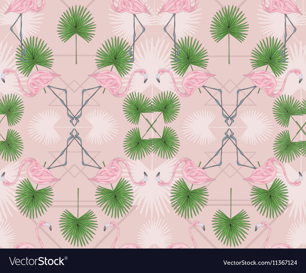 Cute hipster seamless pattern with flamingos vector image