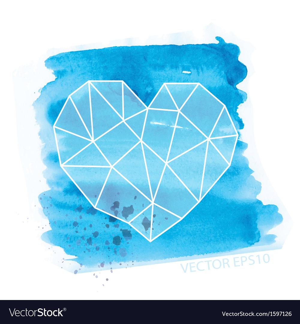 Watercolor and geometry heart vector image