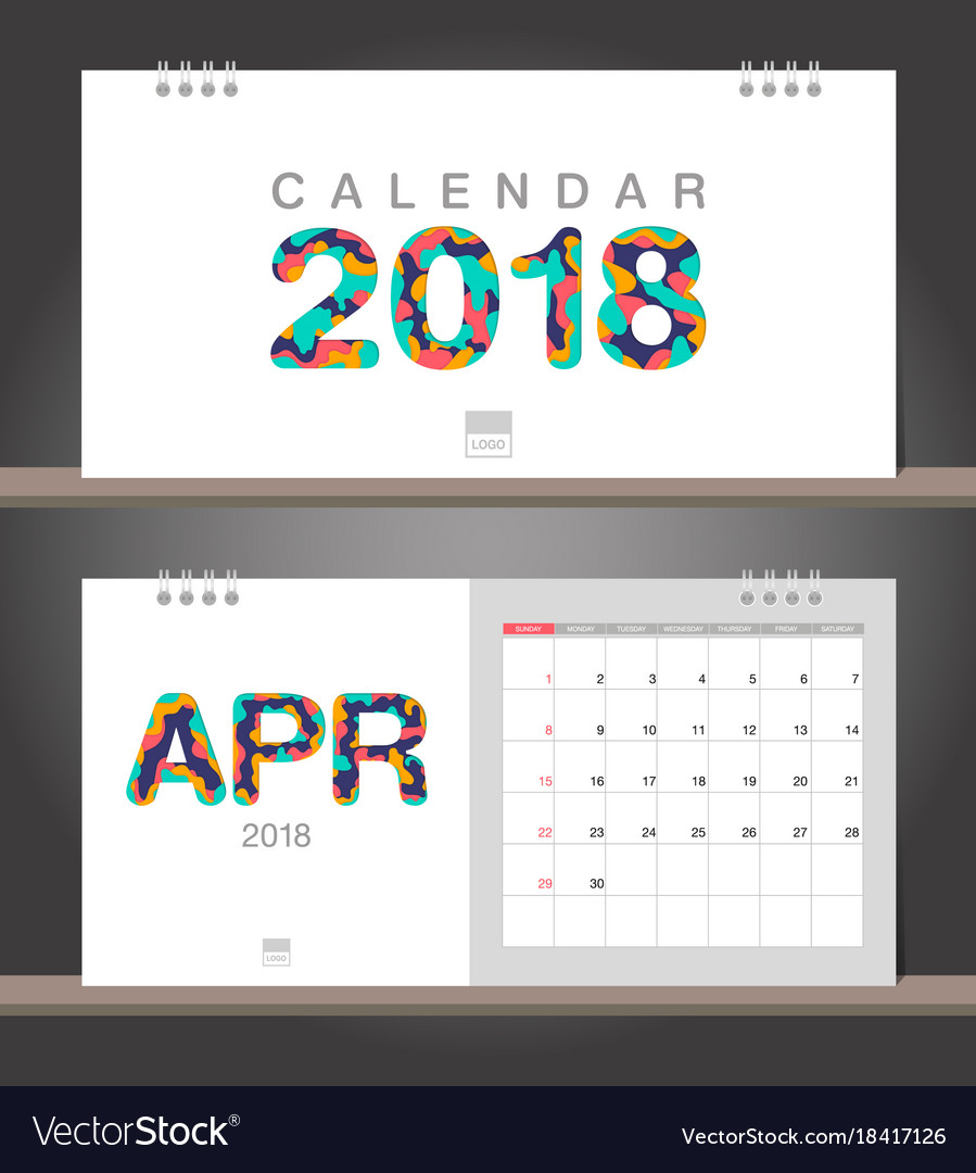 Calendar April Vector : April calendar desk modern design vector image