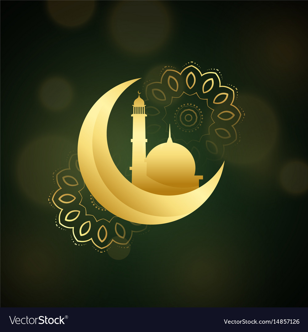 Crescent moon with mosque for islamic festival vector image