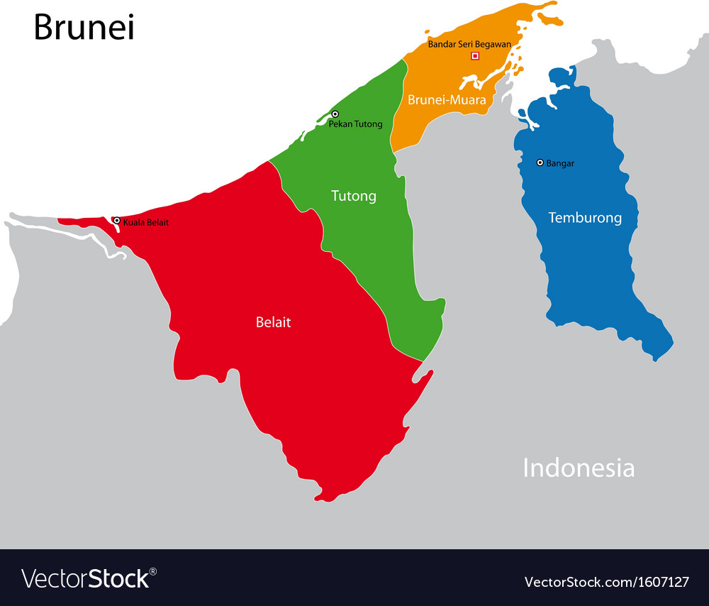 Brunei map royalty free vector image vectorstock brunei map vector image gumiabroncs Images