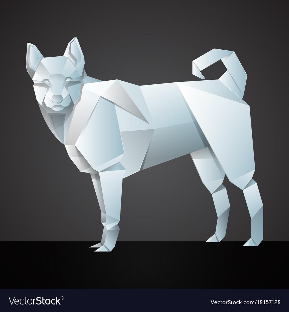 Origami white dog vector image
