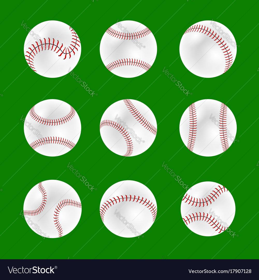 Set of baseball balls vector image
