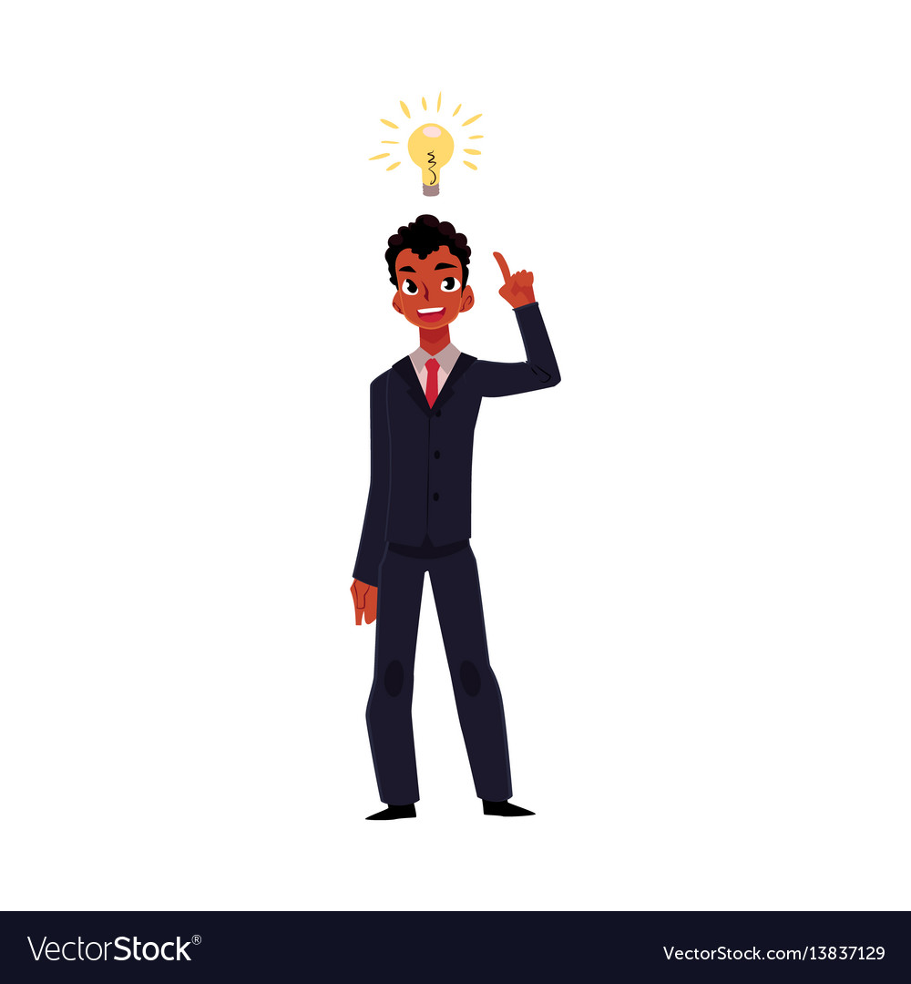 Black african businessman having idea business vector image
