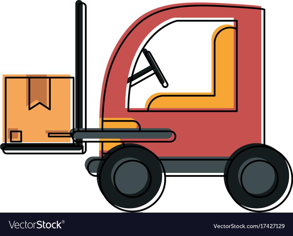 Cardboard boxes on forklift vector image