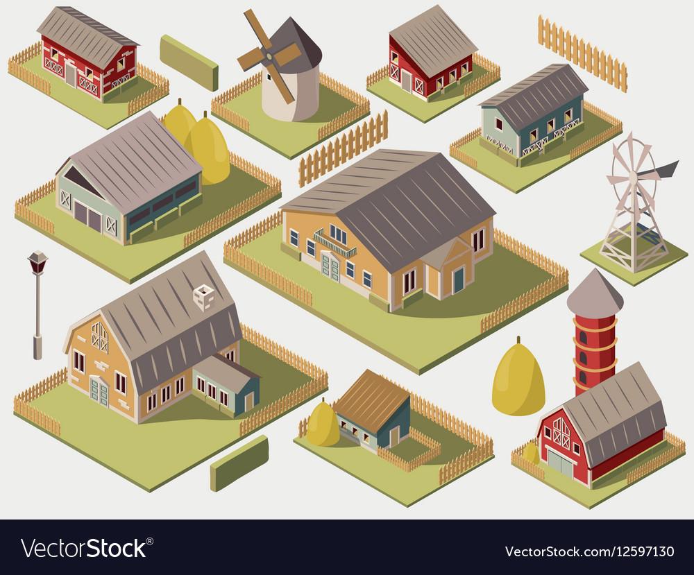 Farms Isometric Set vector image